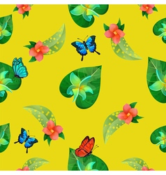 Tropical Flowers Floral Background Seamless vector image