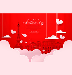 valentines day red paris city paper cut card vector image