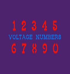 Voltage numbers in dynamic vibrant style vector