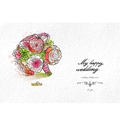 Wedding watercolor bouquet vector