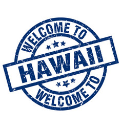 Welcome to hawaii blue stamp vector