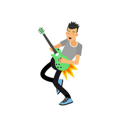 Young boy enjoys playing electric guitar rock vector