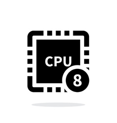 Eight Core CPU simple icon on white background vector image