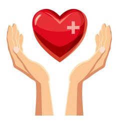 hands holding red heart with cross icon vector image