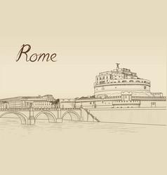 rome cityscape with castel santangelo italian vector image