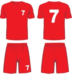 Set of soccer uniform front and back view vector image vector image