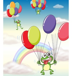 a frog and balloons vector image