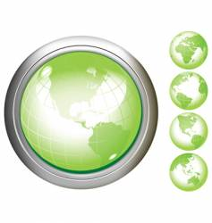 earth glossy buttons vector image