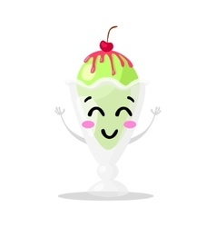 Funny cartoon cute ice cream Kawaii muzzle vector image