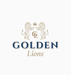 golden lions abstract sign symbol or logo vector image