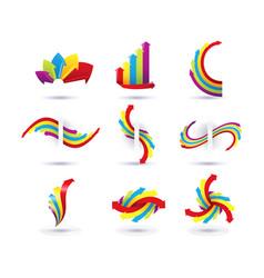 set of minimal arrow multicolor symbol set and vector image vector image