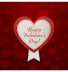 Valentines Day Banner with Text and Ribbon vector image vector image