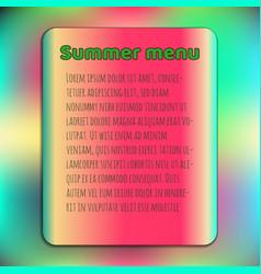 Bright summer menu cover template watermelon vector