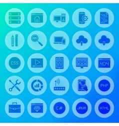 Coding solid circle icons vector