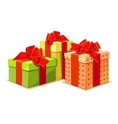 colorful gift box on white background vector image vector image