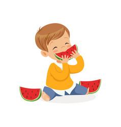 cute little boy character enjoying eating vector image