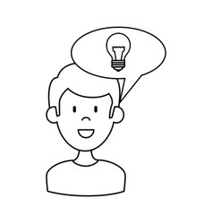 man with speech bubble and bulb vector image