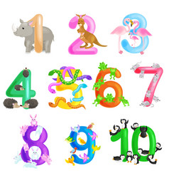 Set of ordinal numbers for teaching children vector