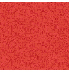 Thin line holiday christmas red seamless pattern vector