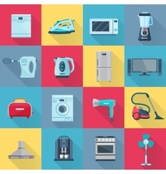 Flat Color Household Appliances Icons vector image