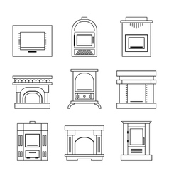 Flat icons fireplace stoves isolated on white vector image vector image
