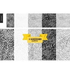 Hand drawn back and white patterns set vector image vector image