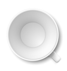 top view of empty coffee mug on white vector image vector image
