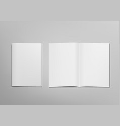 3d blank clear opened magazine mockup with cover vector