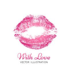 A bright pink imprint lips vector