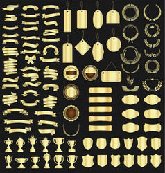 a golden collection various ribbons tags vector image
