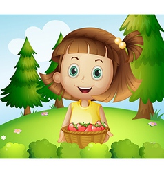 A smiling young woman holding basket vector