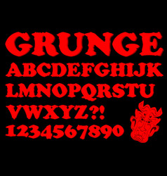 Alphabet in red grunge style devil designed vector