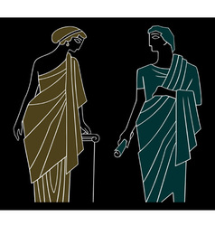ancient greek man and woman vector image