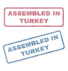 assembled in turkey textile stamps vector image