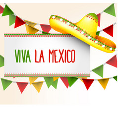 Banner viva la mexico - sombrero and party vector
