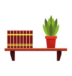 Books and plant pot on bookshelf vector