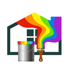 Brush and a bucket of paint for the house vector