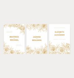 Bundle of gorgeous floral wedding party invitation vector