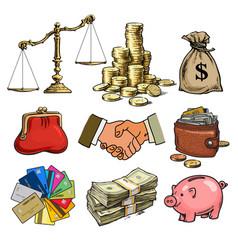 cartoon business finance money set scales stack vector image