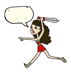 Cartoon viking girl with sword with speech bubble vector