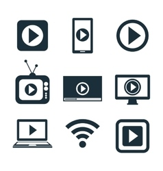 collection icons live streaming desing graphic vector image