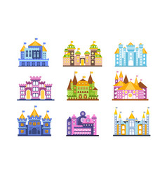 colorful castles and mansions set collection of vector image