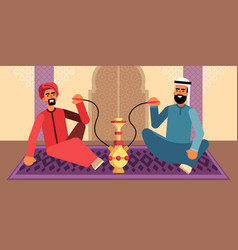 Colorful of two men who smoke hookah vector