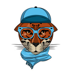 cool hipster leopard vector image