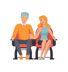 Couple watching movie in cinema theater and vector