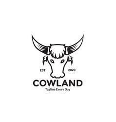 Cow head vintage style logo design vector