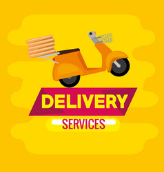 Delivery service with scooter motorcycle vector