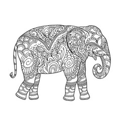 drawing zentangle elephant for coloring book vector image