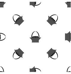 Easter basket pattern seamless black vector
