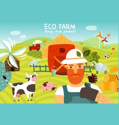 Eco farm composition vector